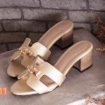 รองเท้าแฟชั่น ส้นสูง แบบสวม หน้า H แต่งอะไหล่ทองสวยหรูสไตล์แอร์เมส ใส่สบาย แมทสวยได้ทุกชุด
