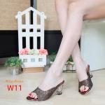 รองเท้าแฟชั่น ส้นสูง แบบสวม แต่งกลิสเตอร์สวยหรูเป็นประกาย ส้นใสอินเทรนด์ ทรงสวยเก็บหน้าเท้าเรียว ส้นส้นประมาณ 3 นิ้ว ใส่สบาย แมทสวยได้ทุกชุด (M1845)