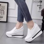 รองเท้าผ้าใบแฟชั่น เสริมส้น สวยเรียบเก๋สไตล์เกาหลี ทรงสวย น้ำหนักเบา ใส่ง่าย ใส่สบาย สวยเพรียวด้วยส้นสูง 4 นิ้ว แมทสวยได้ทุกชุด (951)