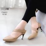 รองเท้าคัทชู ส้นสูง รัดส้น คาดเฉียงสวยเก๋มีสไตล์ แปะเมจิกเทป ใส่ง่ายมาก แต่งส้นขอบทอง หนังนิ่ม ทรงสวย สูงประมาณ 3 นิ้ว ใส่สบาย แมทสวยได้ทุกชุด (10187)