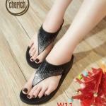 รองเท้าแตะแฟชั่น แบบหนีบ แต่งคลิสตัลเพชรสีไล่โทนสวยหรู พื้นซอฟคอมฟอตนิ่มสไตล์ฟิตฟลอบ ใส่สบาย แมทสวยได้ทุกชุด (AW129)