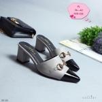 รองเท้าคัทชู เปิดส้น สวยหรู แต่งอะไหล่สไตล์แบรนด์ ตัดสีหนังด้านหน้า ส้นตัดสูงประมาณ 2 นิ้ว ใส่สบาย แมทสวยได้ทุกชุด (G5-238)