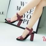รองเท้าแฟชั่น ส้นสูง แบบสวม รัดส้น แต่งเข็มขัดสวยเรียบเก๋ หนังนิ่ม ทรงสวย ส้นตัดสูงประมาณ 4 นิ้ว ใส่สบาย แมทสวยได้ทุกชุด