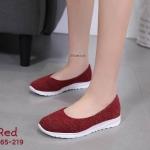 รองเท้าคัทชู ส้นแบน แต่งบุผ้าลายเรียบเก๋สไตล์สปอร์ต พืิ้นบุนิ่มเพื่อสุขภาพ หนังนิ่ม ทรงสวย ใส่สบาย แมทสวยได้ทุกชุด (A265-219)