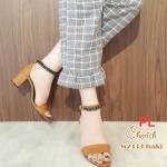 รองเท้าแฟชั่น รัดข้อ แต่งโซ่สายรัดข้อสวยเก๋ หนังนิ่ม ทรงสวย ส้นสูงประมาณ 3 นิ้ว ใส่สบาย แมทสวยได้ทุกชุด (M233)