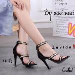 รองเท้าแฟชั่น แบบสวม รัดข้อ คาดหน้าแต่งเส้นทองหรู ทรงสวยคลาสสิค ใส่ได้ตลอด แมทชุดไหนก็สวยดูดี ส้นสูงประมาณ 4.5 นิ้ว (17-5117)