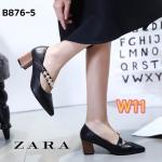 รองเท้าคัทชู ส้นเตี้ย สวยหรู แต่งสายคาดเฉียงประดับเพชรด้านหน้า ส้นลายไม้เก๋ๆ ส้นตัดสูงประมาณ 2.5 นิ้ว ใส่สบาย แมทสวยได้ทุกชุด (B876-6)