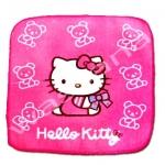 ผ้าเช็ดหน้า สีชมพู ลาย Hello Kitty