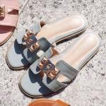 รองเท้าแตะแฟชั่น แบบสวม หน้า H แต่งอะไหล่ทองสไตล์แอร์เมสสวยหรู หนังนิ่ม ใส่สบาย แมทสวยได้ทุกชุด (SS03)