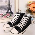 รองเท้าผ้าใบหุ้มข้อ สไตล์ Converse เสริมพื้นสูงสไตล์เกาหลีสุดๆ งานสวย มากๆ แมทเท่ห์ๆ ได้ทุกชุด สีกรม ดำ (CA-19)
