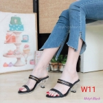 รองเท้าแฟชั่น ส้นสูง แบบสวม แต่งโซ่ ส้นใสสวยเก๋ อินเทรนด์ สูงประมาณ 3 นิ้ว ใส่สบาย แมทสวยได้ทุกชุด (M1858)