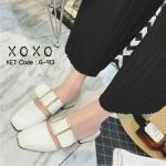 รองเท้าคัทชู เปิดส้น สวย เฉียว ดีไซด์เก๋มาก ตอนนี้ฮิตมากในเกาหลี สวมใส่ง่าย น้ำหนักเบา วัสดุ PU สีด้าน ดีไซน์สวย ไม่เหมือนใครแน่นอน ด้านบนแต่ง เข็มขัดสีทอง สวยตามภาพ มีรูปรับกระชับ 2 รู ปรับเลื่อนได้ ส้นสั่งทำงานพิเศษ ส้นไม้ สูง 1.5 นิ้ว ส้นเหลี่ยม สวยงาม