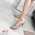 รองเท้าคัทชู เปิดส้น ส้นสูง สวยเรียบเก๋ หนังนิ่ม ทรงสวย ส้นสูงประมาณ 3 นิ้ว ใส่สบาย แมทสวยได้ทุกชุด (K9303)