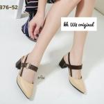 รองเท้าคัทชู ส้นสูง รัดส้น หนังตัดสีแต่งห่วงทองดีไซน์เก๋ ทรงสวยเพรียว ส้นสูง 2.5 นิ้ว แมทสวยได้ทุกชุด (B76-52)