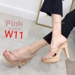 รองเท้าแฟชั่น ส้นสูง แบบสวมไขว้หน้า ส้นลายไม้สวยเก๋ ทรงสวย หนังนิ่ม ส้นสูงประมาณ 4.5 นิ้ว ใส่สบาย แมทสวยได้ทุกชุด (3006-5)