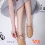 รองเท้าคัทชู ส้นแบน หัวมน แต่งเชือกผูกด้านหน้าสวยน่ารักมาก หนังนิ่มอย่างดี ใส่สบาย สไตล์วินเทจ แมทสวยได้ทุกชุด (158-734)