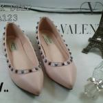 รองเท้าคัทชู ส้นแบน สวยเก๋ สไตล์วาเลนติโน แต่งหมุดสลับคลิสตัลสีเก๋ไม่เหมือนใคร ใส่ สบาย แมทสวยได้ทุกชุด (VA123)