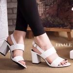 รองเท้าแฟชัน ส้นสูง แบบสวม รัดส้น สวยเก๋ ดีไซน์สาย 2 ตอนเก็บหน้าเท้า ส้นตัด สูง ประมาณ 2.5 นิ้ว แมทสวยได้ทุกชุด