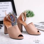 รองเท้าแฟชั่น ส้นสูง รัดข้อ หน้าเต็มเปิดนิ้วสวยเรียบเก๋ ส้นแต่งลายไม้ดูดี หนังนิ่ม ทรงสวยเก็บหน้าเท้า ส้นตัดสูงประมาณ 4 นิ้ว ใส่สบาย แมทสวยได้ทุกชุด (G12-91)