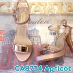 รองเท้าแฟชั่น ส้นสูง รัดข้อ แบบสวม แต่งอะไหล่ทองสวยเก๋ ส้นสูงประมาณ 5 นิ้ว เสริมหน้า 1 นิ้ว ใส่สบาย แมทสวยได้ทุกชุด (CA8734)