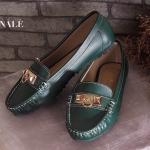 รองเท้าคัทชู ส้นเตี้ย ทรง loafer หนังนิ่ม แต่งอะไหล่ทองสไตล์แอร์เมสสวยเก๋ พื้นบุนิ่ม ใส่ สบาย พื้นยางกันลื่น แมทสวยได้ทุกชุด ทุกโอกาส
