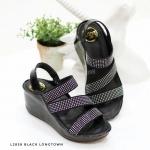 รองเท้าแฟชั่น ส้นเตารีดสวยหรู แบบสวม รัดส้น หนัง PU อย่างดี แต่งเพชรหรูดูดี สายคาด เฉียงหน้าเก็บหน้าเท้าเรียว สูงเตารีด เดินง่าย ประมาณ 3 นิ้ว ใส่สบาย แมทสวยได้ทุกชุด (L2858)