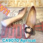 รองเท้าคัทชู ส้นเตี้ย แต่งอะไหล่ทองสวยหรู หนังนิ่มอย่างดี พื้นนิ่ม ส้นสูงประมาณ 2.5 นิ้ว ใส่สบาย แมทสวยได้ทุกชุด (CA9070)
