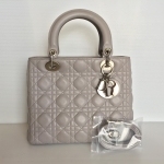 "[SOLDOUT]Like New Christian Dior Lady Dior 10"" Lambskin Gray"