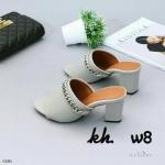 รองเท้าแฟชั่น ส้นสูง แบบสวม แต่งโซ่เรียบเก๋ดูดี ทรงสวยเก็บเท้า ใส่สบาย ส้นสูงประมาณ 3.5 นิ้ว แมทสวยได้ทุกชุด (G1261)