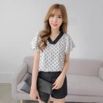 [พรีออเดอร์] เสื้้อแฟชั่นเกาหลีใหม่ อก 50.78 นิ้ว แขนสั้น สำหรับผู้หญิงไซส์ใหญ่ - [Preorder] New Korean Fashion Shirt Short-Sleeved for Large Size Woman