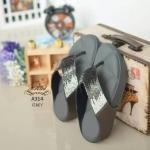 รองเท้าแตะแฟชั่น สวยหรู แบบหนีบแต่งเพขรกลิตเตอร์ไล่โทนสีสวยวิ้ง พื้นบุลายโซฟา หนานุ่ม ใส่สบายมาก แมทสวยได้ทุกชุด (A314)