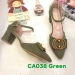 รองเท้าคัทชูุ ส้นเตี้ย รัดส้น แต่งอะไหล่สวยเก๋ หนังนิ่ม ทรงสวย ส้นตัดสูงประมาณ 2.5 นิ้ว ใส่สบาย แมทสวยได้ทุกชุด (CA038)