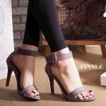 รองเท้าแฟชั่น ส้นสูง รัดข้อ แบบสวม แต่งเข็มขัดสายรัดข้อสวยเก๋ ทรงสวยคลาสสิค ส้นสูง ประมาณ 4.5 นิ้ว แมทสวยโดดเด่นได้ทุกชุด