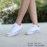 รองเท้าผ้าใบ Converse สีขาว ขอบแดง สุดฮิต สวยตามรูป (กล่อง converse ป้ายแทรค converse)