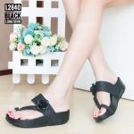 รองเท้าแตะแฟชั่น เพื่อสุขภาพ แบบสวมนิ้วโป้ง แต่งดอกไม้สวยหรูน่ารัก พื้นซอฟคอม ฟอตนุ่มสไตล์ฟิตฟลอบ ใส่สบาย แมทเก๋ได้ทุกชุด (L2840)