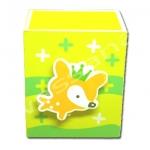 กล่องใส่ดินสอมีคลิปหนีบกระดาษ สีเหลือง-เขียว ลายสุนัขจิ้งจอก