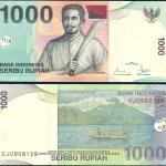 ธนบัตรประเทศ อินโดนีเซีย ชนิดราคา 1,000 RUPIAH (รูเปีย) รุ่นปี พ.ศ. 2555 หรือ ค.ศ. 2012
