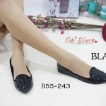 รองเท้าคัชชู หัวแหลม ส้นเตี้ย Flat หนัง PU ตัดขอบกำมะหยี่สีดำ ปั้มลายนูน กราฟฟิคงานสวย แมทง่ายกับทุกชุด