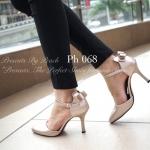รองเท้าคัทชู ส้นสูง PRADA Style งานนำเข้า หนังอย่างดี แต่งดีเทลโบว์ด้านหลัง ทรง Classic ใส่แมทชุดได้ง่าย ทรงสวยดูดี ดูเท้าเรียว สูง 3 นิ้ว