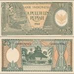 ธนบัตรประเทศ Indonesia 25 Rupiah 1958 (พ.ศ.2501) สภาพไม่ผ่านการใช้งาน (UNC)