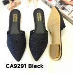 รองเท้าคัทชู เปิดส้น แต่งฉลุลายขอบและคลิสตัลสวยหรู ทรงสวย หนังนิ่ม ส้นแต่งขอบทอง ใส่สบาย แมทสวยได้ทุกชุด (CA9291)