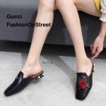 รองเท้าคัทชู เปิดส้น แต่งลายกุหลาบปัก ส้นแต่งมุกสวยหรู ทรงสวย ใส่สบาย แมทสวยได้ทุกชุด (988-9)
