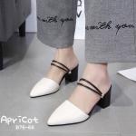 รองเท้าคัทชู เปิดส้น สวยเก๋ด้วยดีไซน์สายคาดใส่ได้ 2 แบบ แบบเปิดส้นและแบบรัดส้น ทรงสวย ส้นตัดสูงประมาณ 2.5 นิ้ว ใส่สบาย แมทสวยได้ทุกชุด (B76-66)