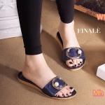 รองเท้าแตะแฟชั่น แบบสวม แต่งเข็มขัดประดับมุกด้านหน้าสวยเก๋ ทรงสวยเก็บเท้า ใส่ สบาย แมทสวยได้ทุกชุด