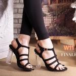 รองเท้าแฟชั่น ส้นสูง รัดส้น หนังสักหราดแต่งส้นใสสวยอินเทรนด์ แบบสวมคาดหน้าดีไซน์หนังเส้นเก็บหน้าเท้า ทรงสวยเพรียว ส้นสูง 4 นิ้ว แมทสวยได้ทุกชุด