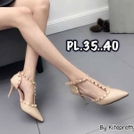 รองเท้าคัทชู ส้นสูง รัดข้อ หนังเงาคาดหน้า T แต่งหมุดขอบสวยหรูสไตล์วาเลนติโน หนังนิ่ม ทรงสวย สูงประมาณ 3 นิ้ว ใส่สบาย แมทสวยได้ทุกชุด (K9332)