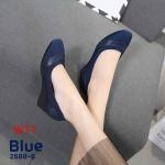 รองเท้าคัทชู ส้นเตารีด แต่งหนังตัดสวยเรียบเก๋ หนังนิ่ม ทรงสวย ใส่สบาย แมทสวยได้ทุกชุด (2688-6)