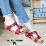 รองเท้าแตะแฟชั่น แบบสวม แต่งลายตารางสวยเก๋ พื้นซอฟคอมฟอตนิ่มสไตล์ฟิตฟลอบ ใส่สบายมาก แมทสวยได้ทุกชุด (F1082)