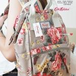 กระเป๋าเป้แฟชั่น สไตล์ Cath kidston สุดน่ารัก หนังพิมพ์ลายดอกไม้วินเทจ ขนาดกลาง กำลังดี หิ้วได้ สะพายสวย ไปได้ทุกที่ กว้าง 9 นิ้ว สูง 13 นิ้ว