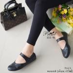 รองเท้าคัทชู ส้นแบน สวยน่ารัก ใสๆ สไตล์สาวญี่ปุ่น วัสดุหนังพียูลายตาราง ดี เทลสายคาดแบบเมจิกเทป ลองกัดกันด้านหลัง น้ำหนักเบา สวมสบาย แมทง่าย ทุกชุด สูง 1 เซน สี Black Grey Cream Brown (111-91)
